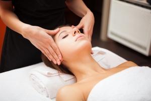 Beautiful woman having a facial massage